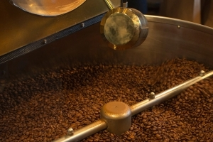 Green coffee being roasted